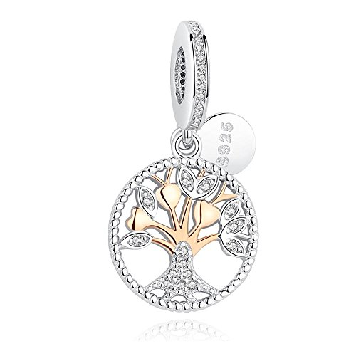 Jibbitz Cat (BELAWANG Rose Gold 925 Sterling Silver Charm Family Tree of Life Beads Pave Cubic-zirconia Jewelry)