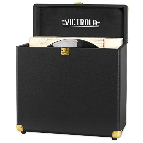 Victrola Vintage Vinyl Record Storage Carrying Case For 30+ Records (Dust / Scratch Free) - Vintage Black