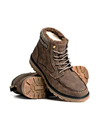 Blackwell Mens Benji Vegan Leather Lace Up Boot with Warm Lining and Memory Foam Insoles