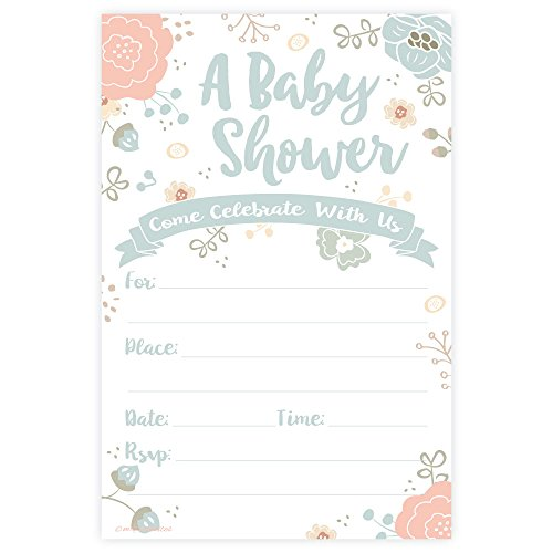 Charming Floral Baby Shower Invitations - Fill In Style (20 Count)