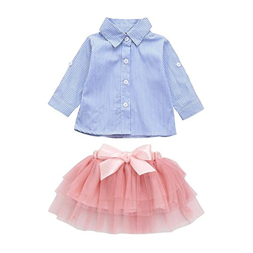 Cenhope Infant Baby Girls Skirt Set Striped Folding Sleeve Shirt Top + Bow Tutu Skirt Outfit (Blue & Pink, 9-12 Months) -