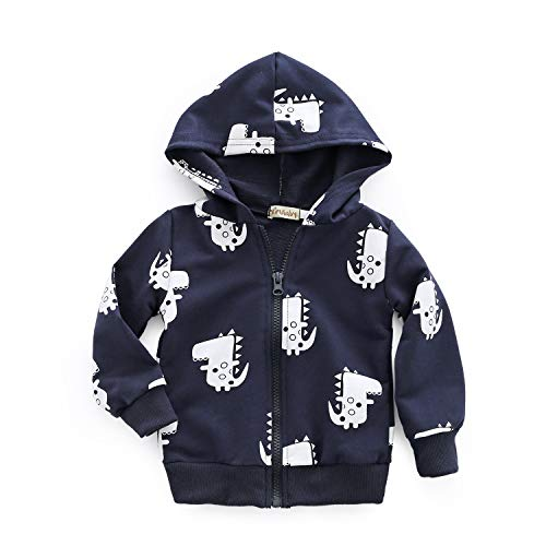 Dealone Baby Boy Zip Front Hoodie Sweathshirt Toddler Dinosaur Jacket Clothes Navy