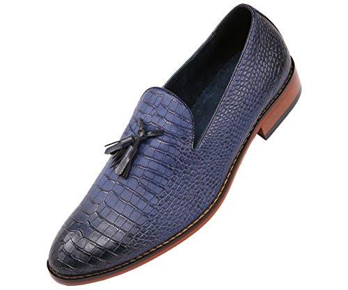 Pantofole Da Uomo In Vernice Bicolore Con Stampa Ghepardo Amali, Slip On Scarpe Da Discoteca Da Nightclub, Stile Sammy Blu Scuro