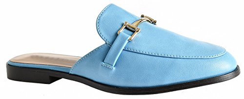 Lusthave Womens Gold Plated Slide On Slip On Mule Loafer Flats Shoes Blue Pu