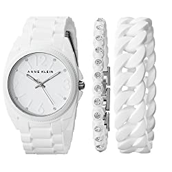 Anne Klein Women's AK/1957WTST Crystal-Accented White Silicone Bracelet Watch Set