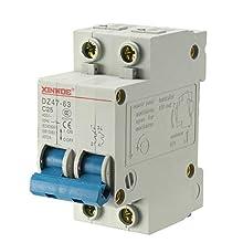 uxcell 2 Poles 25A 400V Low-voltage Miniature Circuit Breaker Din Rail Mount DZ47-63 C25