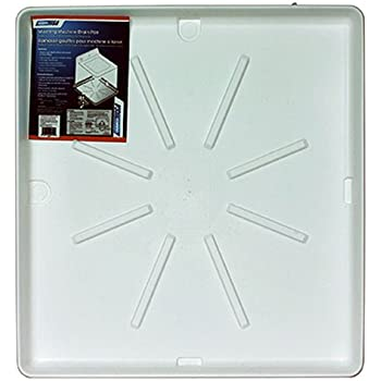 """Camco Washing Machine Drain Pan w/PVC Fitting   32""""OD x 30"""" , Collects Water Leakage From Underneath Mashing Machine and Prevents Floor Damage- White (20752)"""