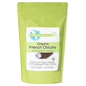 Worldwide Botanicals Organic French Chicory Root - Dark Roast – Brew Like Coffee | Blend Roasted Chicory Root With Coffee | Prebiotic Coffee Alternative | Acid Free | Caffeine Free | Kosher, 1 Pound 86