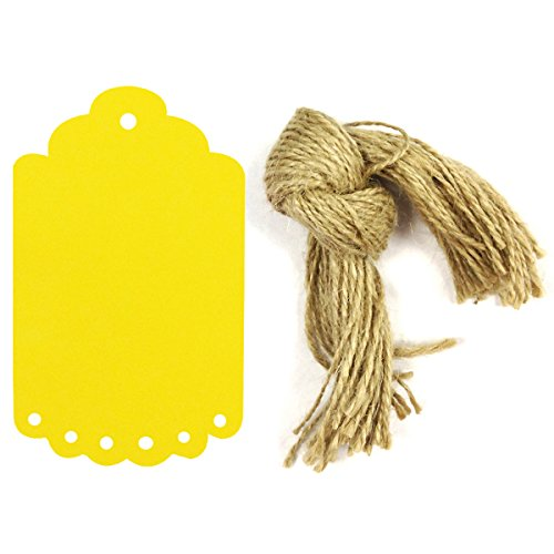 Allydrew 50 Gift Tags/Kraft Hang Tags with Free Cut Strings for Gifts, Crafts & Price Tags, Large Scalloped Edge (Yellow) ()