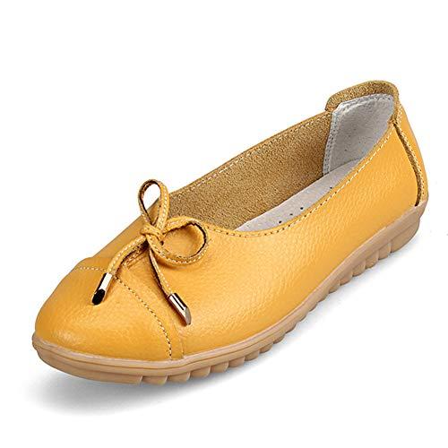 Pelle Comode Traspiranti Con Da Casual Donna Fiocco Scarpe Morbida In Yellow Cinghie AZvtWq