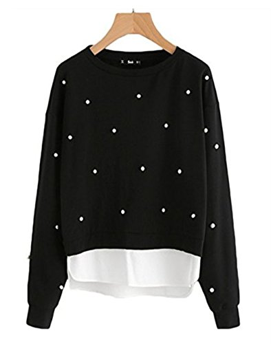 f859da7b1e90bb Simaier Women Dressy Tops Black with Perle Dekoration