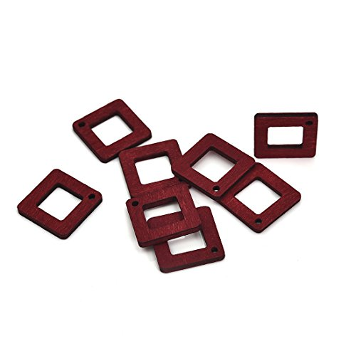 - Blank Wooden Cutout Slices Wooden Simple Geometric Earring Pendant Square Charms 15PCS 22mmX22mm Red