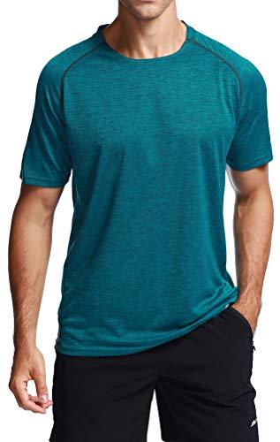 Akilex Mens Tight Sports Short Sleeve Comfortable Quick Dry Fitness Running Shirt Top (3012 Green, M)