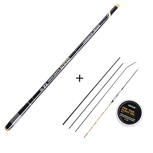Telescopic Fishing Rod 3.0M-7.2M Carbon Fiber 2/8-3/7 Power Hand Pole+Fishing Float Rig&Spare Top-Three Tips,Black,6.3 m