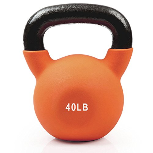 RitFit Neoprene Coated Solid Cast Iron Kettlebell - Great for Full Body Workout, Cross-Training, Weight Loss & Strength Training (5/10/15/20/25/30/35 LB) (40LB(Orange))