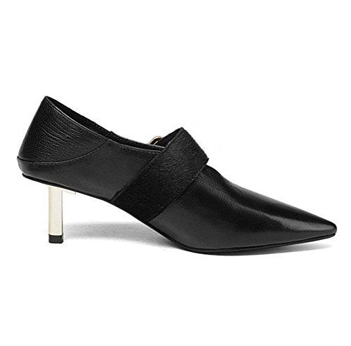 Zapatos Tacón Medio nocturno Fiesta Black Suave Vestir Mujer Zapatillas del Club Puntiagudo pie rojo Corte Ponerse Delgado Negro Dedo Cuero xXfqUYw7