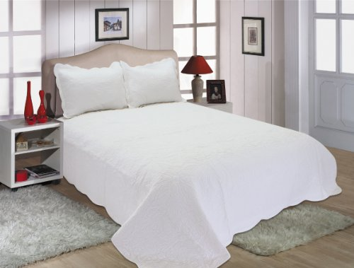 All for You 3-piece Reversible Embroidered SUPREME 100% cotton, Quilt Set, full/queen Size , white
