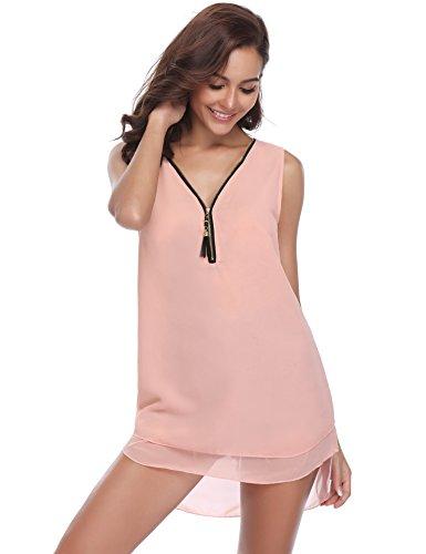 elegante tunica V camicetta camicia abito chiffon lunga Camicetta ufficio in rosa senza farfallino classico a manica donna casual scollo business maniche elegante allentato arco con wqwp47IWT