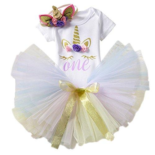 (3PCS Unicorn Princess Outfit Newborn Baby Girls 1st Birthday Flower Romper Bodysuit T-Shirt Top Cake Smash Layered Rainbow Tulle Tutu Skirt Dress Hair Clip Horn Headband Clothes Set #Floral 1 Year)