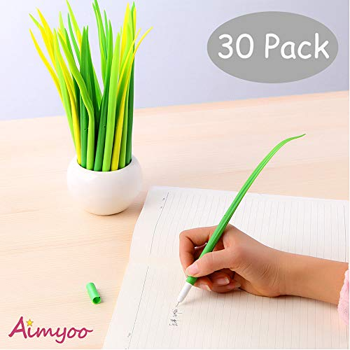 (Aimyoo Pack of 30 Grass Shaped Ballpoint Black 0.5mm Gel Ink Rollerball Pen for School Home Office)