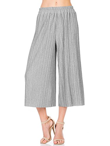 Fashion California Womens Elastic Waist Accordion Pleated Wide Culottes Capri Pants (S/M, Heather Grey)