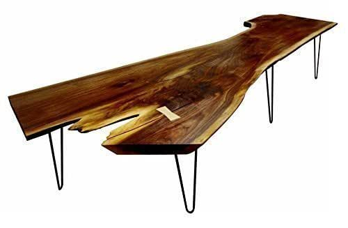 Salvaged walnut slab coffee table handmade for Coffee tables amazon