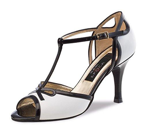 Nueva Epoca-Tango/Salsa danse Chaussures Femme Paloma-Cuir-Noir/Blanc-7cm