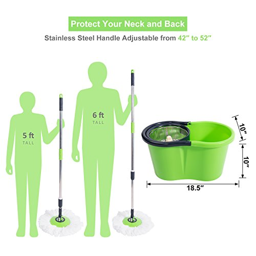 Nfhome Spin Mop And Bucket Cleaning System With 2 Extra