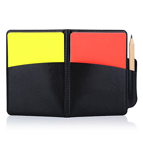 (Referee Warning Cards, PVC Soccer Match Football Game Competitions Red Yellow Card Pensil Wallet Notebook)