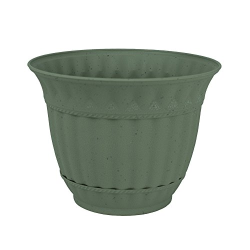 Fluted Rim Saucer - 6 inch Plastic Flower Pot Gray Stone Decorative Attached Saucer Garden Planter