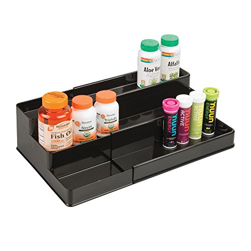 mDesign Adjustable, Expandable Plastic Vitamin Rack Storage Organizer Tray for Bathroom Vanity, Countertop, Cabinet - 3 Shelves - Holds Supplements, Medication - Black