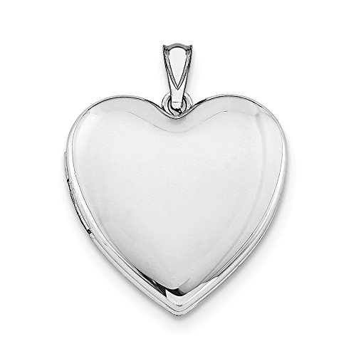 Sterling Silver Polished Locket - Sterling Silver Polished Holds 2 photos 24mm Plain Heart Locket