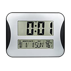 15 Oversized Digital Wall Clock, Home Decoration Wall Clock with Temperature and Calendar, Impaired Vision Digital Clocks with Extra Large Digits Display-Perfect for Seniors (Silver)