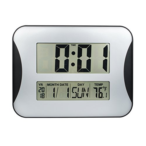EWTTO 15″ Oversized Digital Wall Clock, Home Decoration Wall Clock with Temperature and Calendar, Impaired Vision Digital Clocks with Extra Large Digits Display-Perfect for Seniors (Silver)