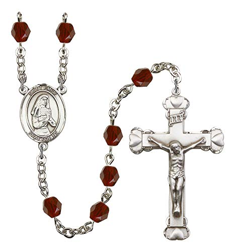 Silver Plate Rosary features 6mm Garnet Fire Polished beads. The Crucifix measures 1 5/8 x 1. The centerpiece features a St. Emily de Vialar medal. Patron Saint Single Laywomen