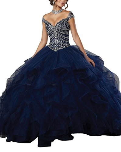 MythLove Women's Tulle Quinceanera Dress Featuring a Gorgeous Beaded Bodice Off The Shoulder Neckline Prom Gown Navy (Neckline Pleated Bodice)