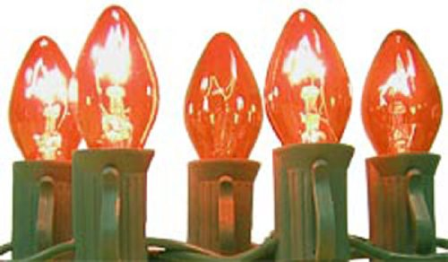 Indoor Or Outdoor c7 Red Lights Sets With Green Wire, used for sale  Delivered anywhere in USA