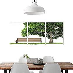 Cheery-Home 3 Panel Wall Art Set Frameless W12 x H32/3P The Kitchen, Dining Room, Living Room, bar so onFarm House Decor Collection Beach Under Oak Tree Objects Habitat Grass Foliage Wood Environmen