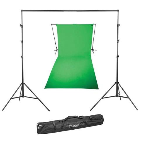 (Westcott 9x20 Feet Wrinkle Resistant Cotton Background, Green - Bundle with Flashpoint 13' Background Support System)