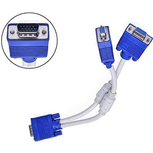 (Apoi 15 Pin VGA 1 Male to Dual 2 VGA Female Monitor Y Adapter Converter Splitter Video Cord VGA Monitor Y Splitter Cable)