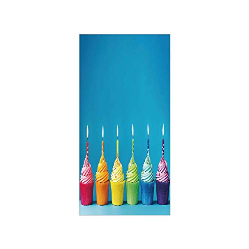 3D Decorative Film Privacy Window Film No Glue,Birthday Decorations,Cupcakes in Rainbow Colors with Candles Fun Homemade Party Food Sweet,Multicolor,for Home&Office