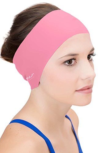 Hair and Ear Guard Headband - Wear Under Swim Caps for A Water Repellent Seal - Light Rose