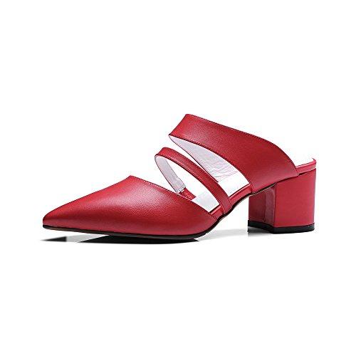 Nine Seven Cuero Moda Puntiagudos Sandalias de Vestir de Tacón Grueso de Vestir para Mujer Rojo