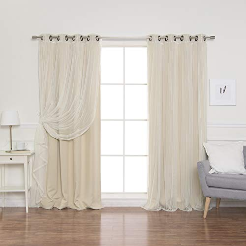"""Best Home Fashion Mix & Match Tulle Sheer Lace & Blackout Curtain Set - Antique Bronze Grommet Top - Beige - 52""""W X 96""""L - (2 Curtains and 2 Sheer curtains)"""