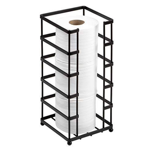 Richards Homewares Toilet Paper Holder Free Standing Storage and Bathroom Hold Jumbo and Mega Size Rolls, 5.94 x 5.94 x 13.78, Decorative Modern Black Metal and Wire Design