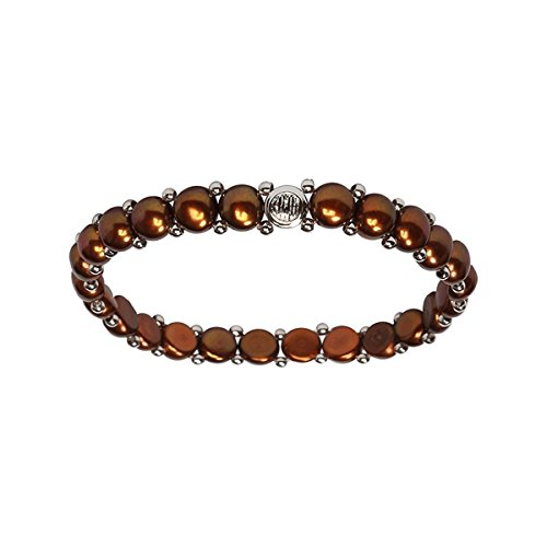 Women's Pearl Bracelet - Easy-on Stretch Single Strand Bracelet with Stainless Steel spacer beads - Bracelet Chocolate Freshwater Pearl