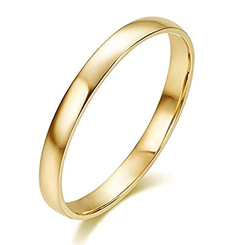 (Hafeez Center 10K Solid Gold 2mm Light Comfort Fit Classic Plain Wedding Band (Yellow-Gold,)
