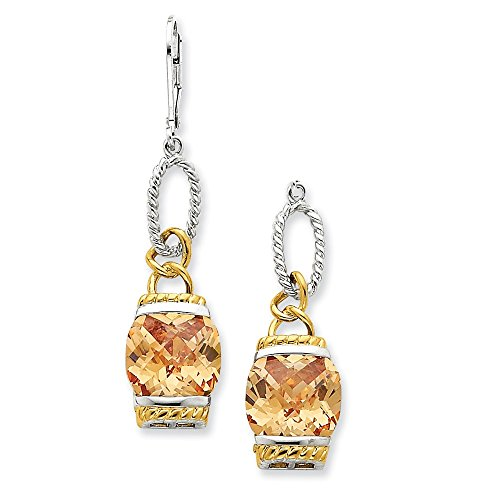 Sterling Silver Vermeil Champagne CZ Dangle Earrings