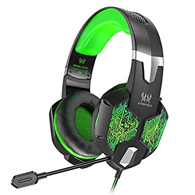 VersionTECH. Gaming Headset for Xbox One/PS4 Controller, PC, Wired Surround Sound Gaming Headphones with Noise Cancelling Mic, RGB LED Backlit for Nintendo Switch, Mac, Destop Computer Games