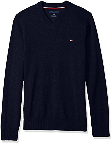 Tommy Hilfiger Men's Big Solid Long Sleeve Sweater, Blue, 2XL Tall